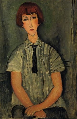 Young Girl in a Striped Blouse by Amedeo Modigliani