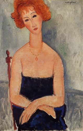 Young Readhead Wearing a Pendant by Amedeo Modigliani