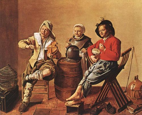 Painting:  Two boys and a girl make music.