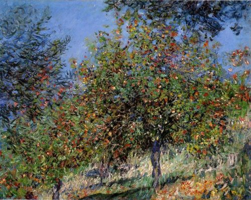 Apple Trees on the Chantemesle Hill, 1878 by Claude Monet