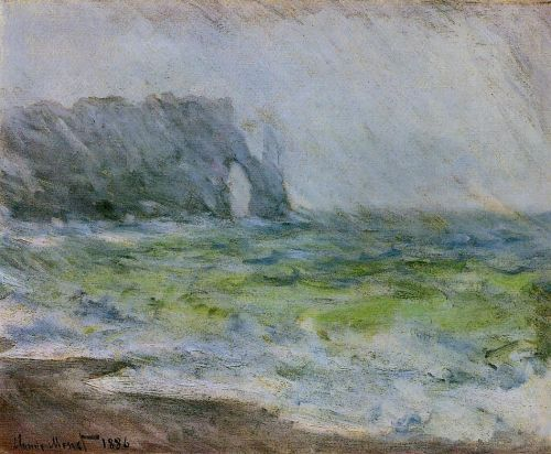 Etretat in the Rain, 1885 by Claude Monet