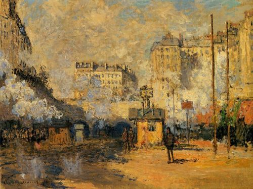 Exterior of Saint-Lazare Station, Sunlight Effect, 1877 by Claude Monet