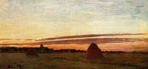 Grainstacks at Chailly at Sunrise, 1865 by Claude Monet