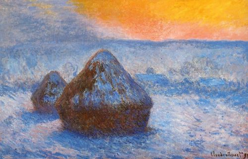 Grainstacks at Sunset, Snow Effect, 1890 by Claude Monet