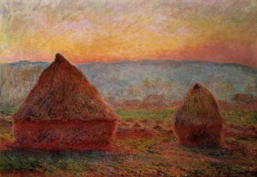 Grainstacks, Sunset, 1889 by Claude Monet