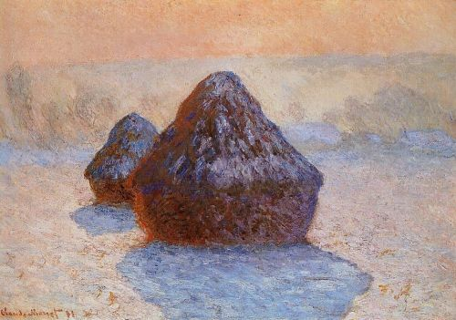 Grainstacks, White Frost Effect, 1890-1891 by Claude Monet