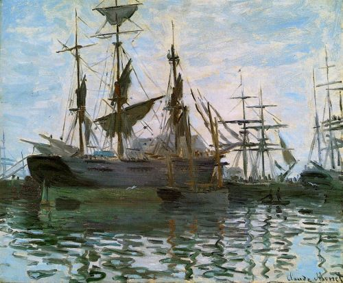 Ships in Harbor, 1873 by Claude Monet