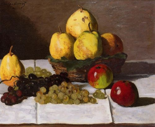 Still Life with Pears and Grapes, 1867 by Claude Monet