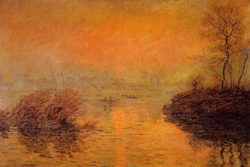 Sunset on the Seine at Lavacourt, Winter Effect, 1880 by Claude Monet