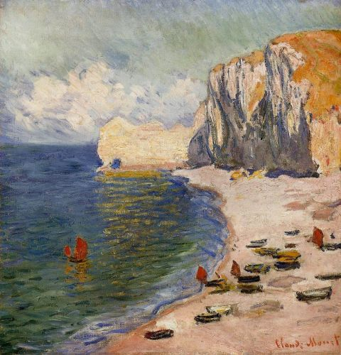 The Beach and the Falaise d'Amont, 1885 by Claude Monet