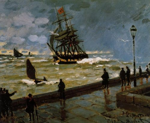 The Jetty at Le Havre in Rough Westher, 1867 by Claude Monet