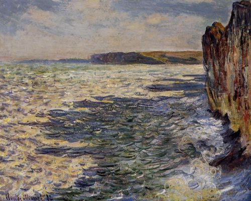 Waves and Rocks at Pourville by Claude Monet