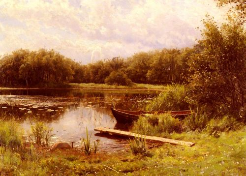 A Boat Moored On A Quiet Lake by Peder Mork Monsted