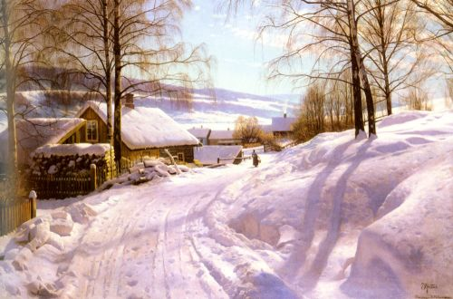 On The Snowy Path by Peder Mork Monsted