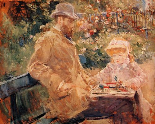 Eugene Manet and His Daughter at Bougival (Eugène Manet et sa fille dans le jardin de Bougival), 1881 by Berthe Morisot
