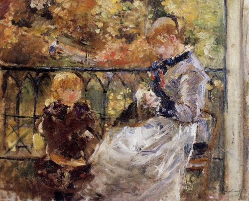 On the Balcony of Eugene Manet's Room at Bougival, 1881 by Berthe Morisot