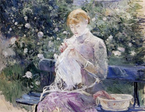 Pasie Sewing in the Garden, 1881-1882 by Berthe Morisot