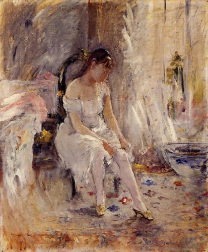 Woman Getting Dressed (Young Woman Fastening Her Stockings), 1880 by Berthe Morisot