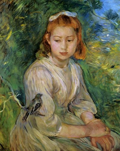 Young Girl with a Bird, 1891 by Berthe Morisot