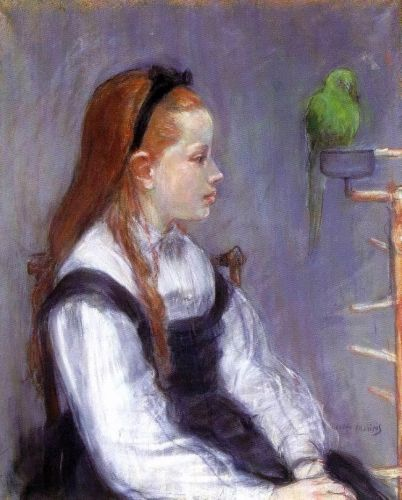 Young Girl with a Parrot, 1873 by Berthe Morisot