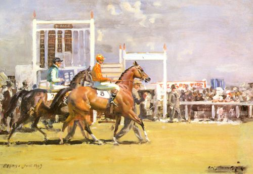 Going out at Epsom by Alfred James Munnings