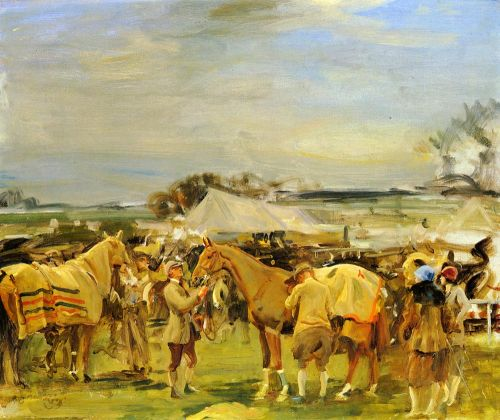 Saddling For The Point To Point by Alfred James Munnings