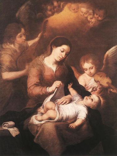 Mary and Child with Angels Playing Music by Bartolomé Esteban Murillo