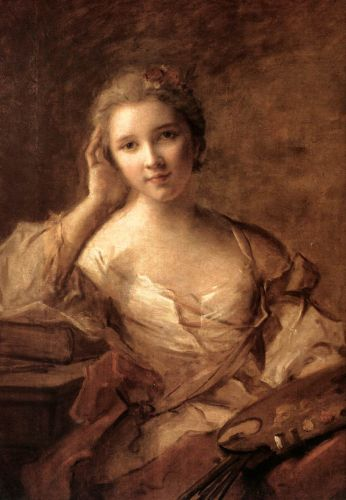 Portrait of a Young Woman Painter by Jean-Marc Nattier