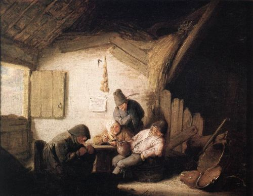 Village Tavern with Four Figures by Adriaen van Ostade