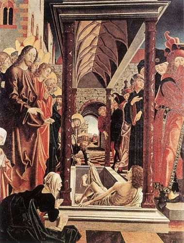 St Wolfgang Altarpiece: Resurrection of Lazar by Michael Pacher
