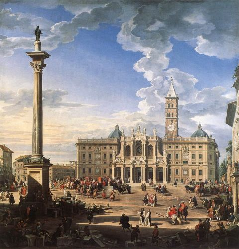 The Piazza and Church of Santa Maria Maggiore by Giovanni Paolo Pannini