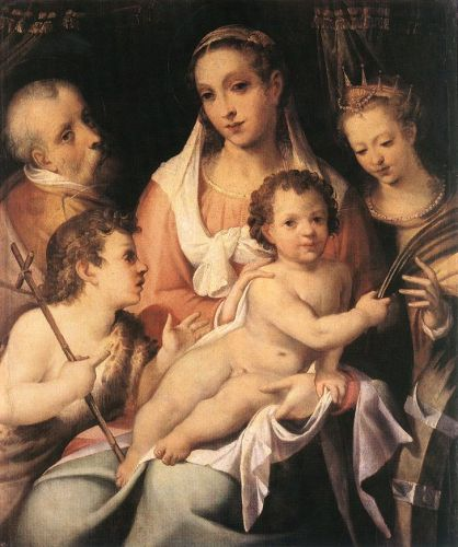 Holy Family with the Infant St John the Baptist and St Cathe by Bartolomeo Passarotti