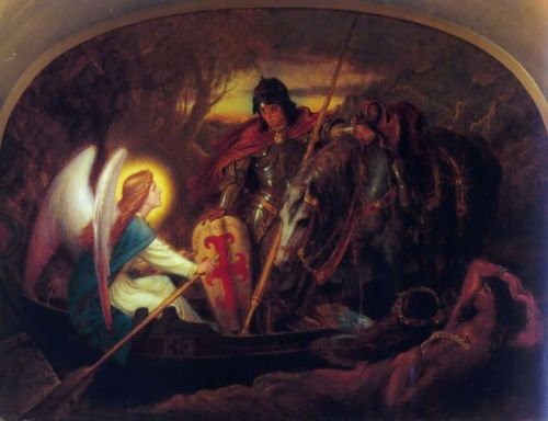 How an Angel rowed Sir Galahad across the Dern Mere by Joseph Noel Paton