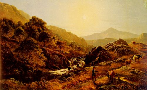 Figures On A Path By A Rocky Stream by Sidney Richard Percy