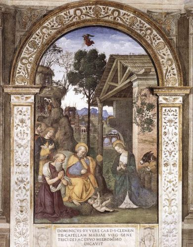 Adoration of the Christ Child by Bernardino di Betto Pinturicchio