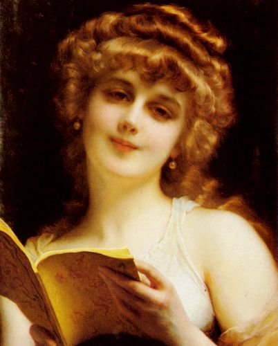 A Blonde Beauty Holding a Book by Etienne Adolphe Piot