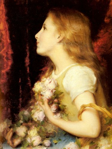 A Young Girl with a Basket of Flowers by Etienne Adolphe Piot