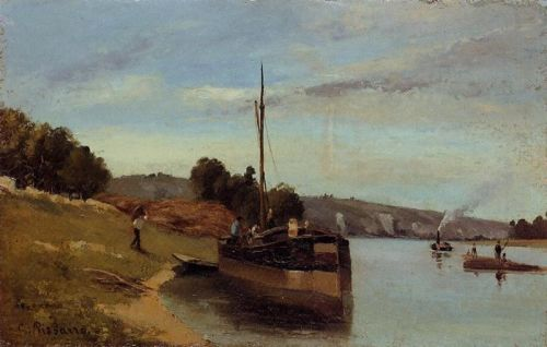 Barges at Le Roche Guyon, 1865 by Camille Pissarro