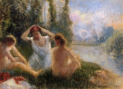 Bathers Seated on the Banks of a River, 1901 by Camille Pissarro