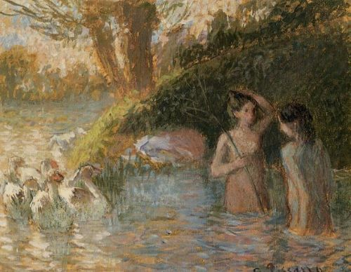 Bathing Goose Maidens by Camille Pissarro