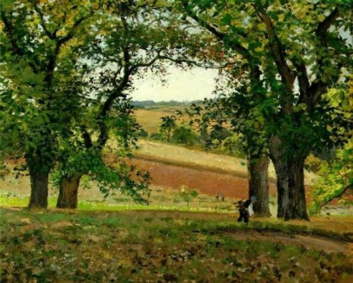 Chestnut Trees at Osny, 1873 by Camille Pissarro