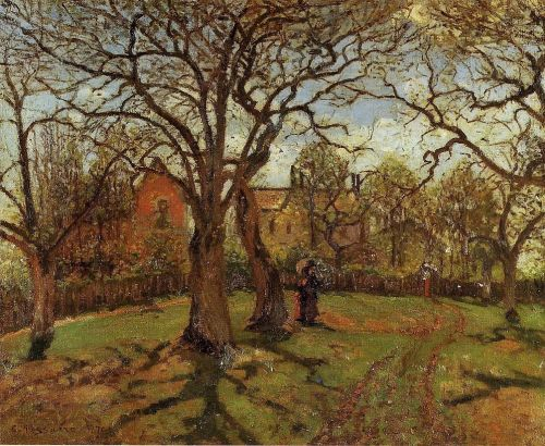 Chestnut Trees, Louveciennes, Spring, 1870 by Camille Pissarro