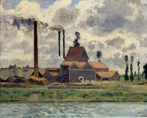 Factory at Pontoise, 1873 by Camille Pissarro