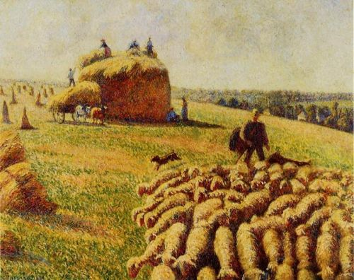 Flock of Sheep in a Field after the Harvest, 1889 by Camille Pissarro