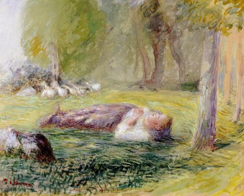 Goose Girl Reclining by Camille Pissarro