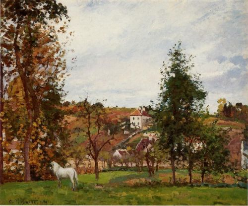 Landscape with a White Horse in a Meadow, L'Hermitage, 1872 by Camille Pissarro