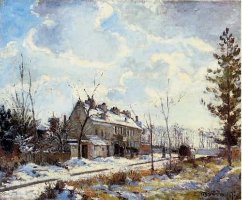 Louveciennes Road: Snow Effect, 1872 by Camille Pissarro