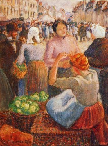 Marketplace, Gisors, 1891 by Camille Pissarro