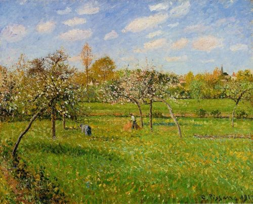 Morning, Spring, Grey Weather, Eragny, 1900 by Camille Pissarro