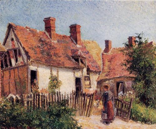 Old Houses at Eragny, 1884 by Camille Pissarro